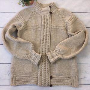 Vintage Wool 70's Cardigan Cream Knit Sweater